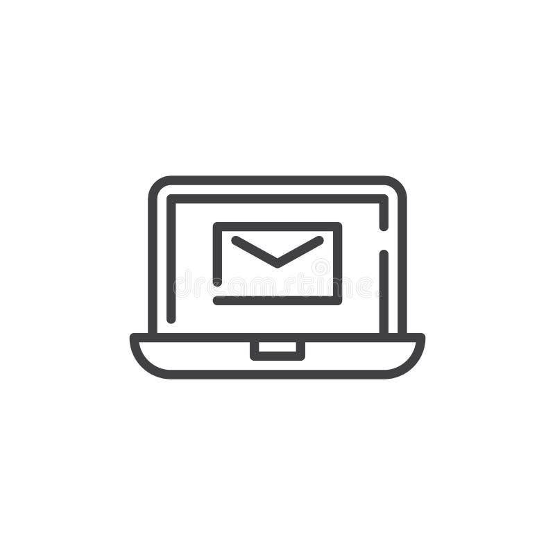 有信封邮件线的象膝上型计算机 向量例证