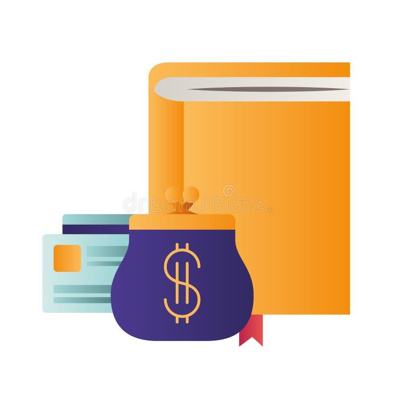 有信用卡和硬币袋子的笔记本 库存例证