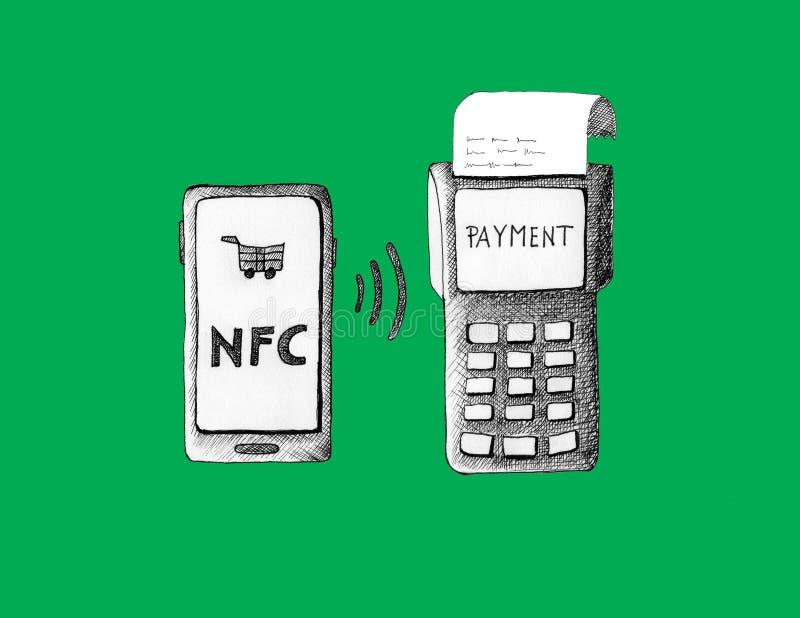 有信用卡的智能手机不接触的付款的 库存图片
