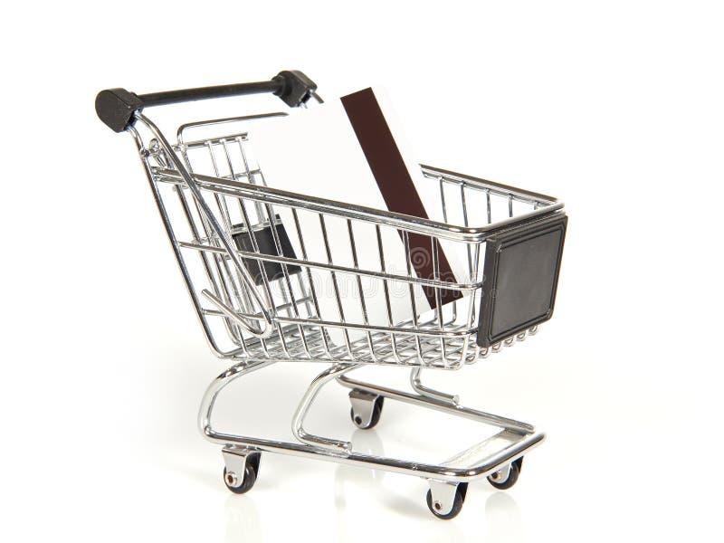 有信用卡的购物车 免版税库存图片
