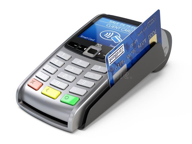 有信用卡的POS终端在白色背景 皇族释放例证
