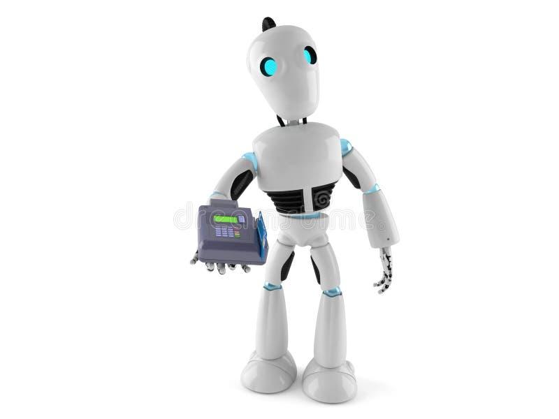 有信用卡读者的机器人 向量例证