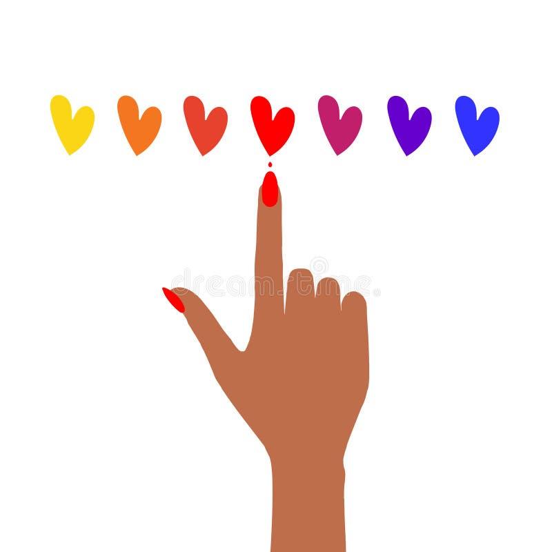 有修指甲和套的女性手心脏 库存例证