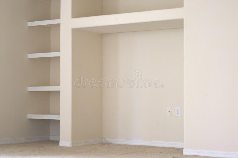 有修造的空的墙壁在架子 库存照片