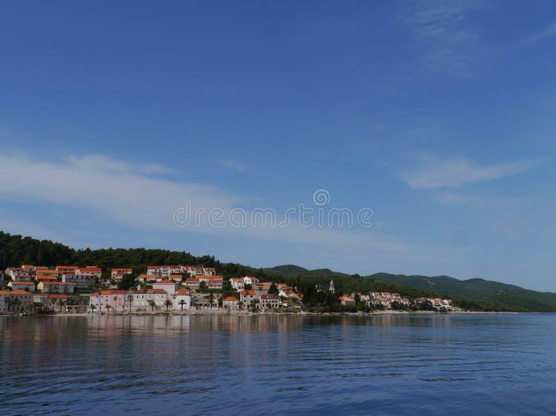 有修道院和教会的Sveti科列夫Korcula市 库存图片