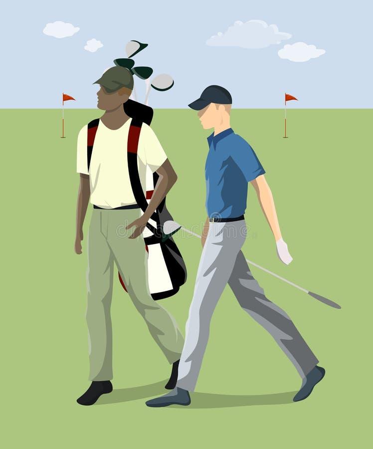 有俱乐部的高尔夫球运动员 库存例证