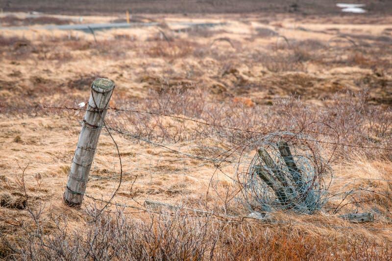 有倒钩导线的篱芭在领域 库存图片