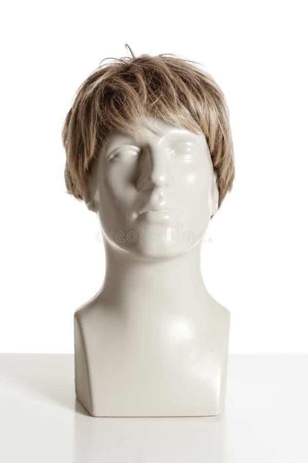 有假发的时装模特男性头 免版税库存图片