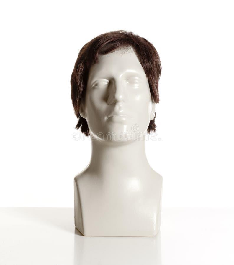 有假发的时装模特男性头 免版税库存照片