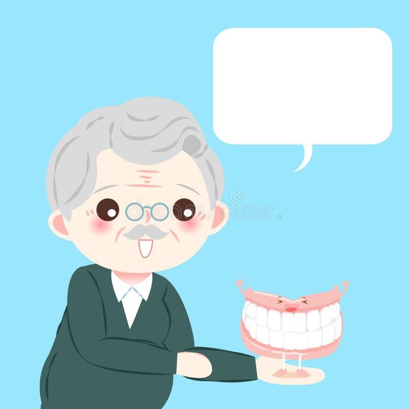 有假牙的老人 库存例证