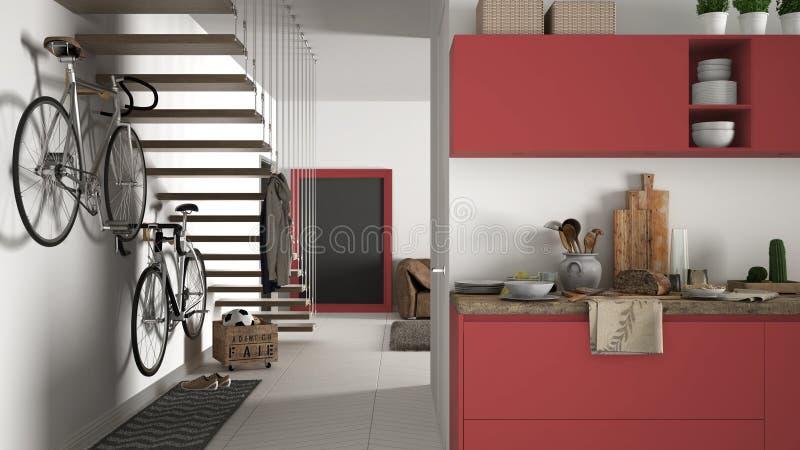 有健康早餐的最低纲领派现代厨房、客厅和木楼梯,当代白色和红色内部 免版税库存照片