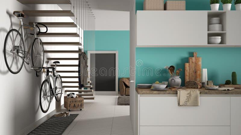 有健康早餐的最低纲领派现代厨房、客厅和木楼梯,当代白色和绿松石内部 库存图片
