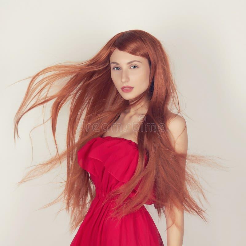 有健康红色头发的妇女 库存照片