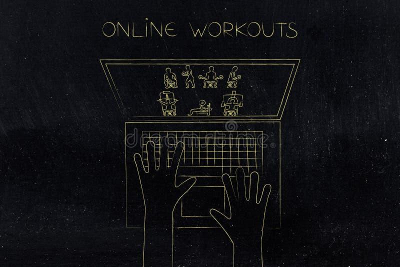 有健身的膝上型计算机用户在屏幕上行使 皇族释放例证