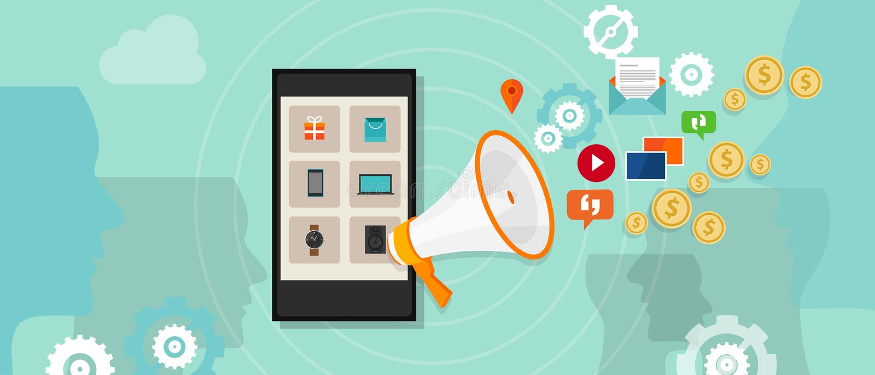 有偿的数字式促进网上广告 向量例证