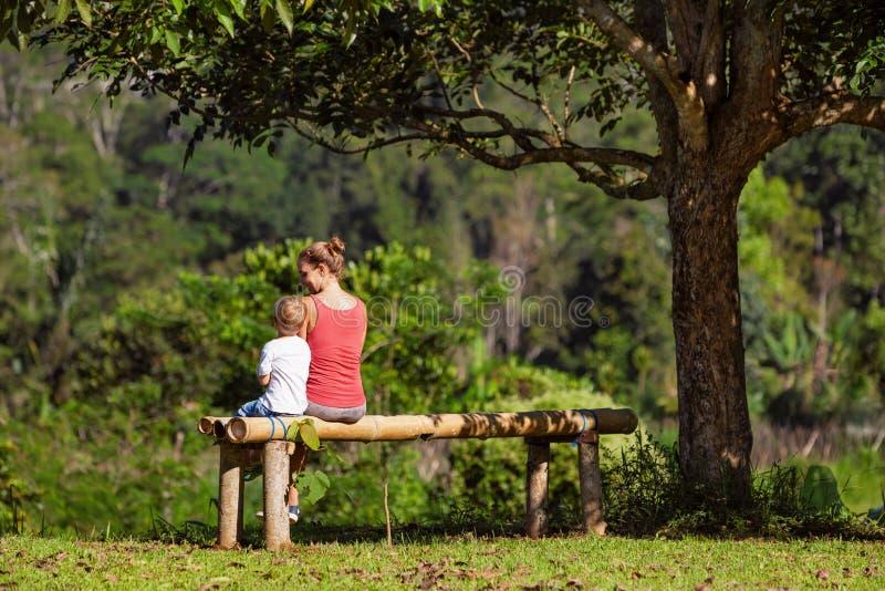 有儿子的母亲坐长凳在树下 免版税库存图片