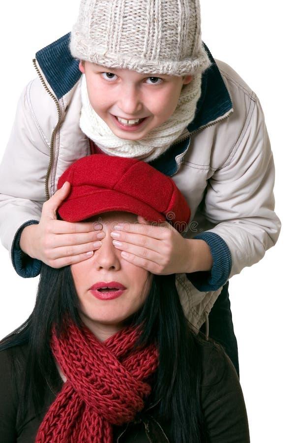 有儿童的乐趣妇女 免版税库存照片