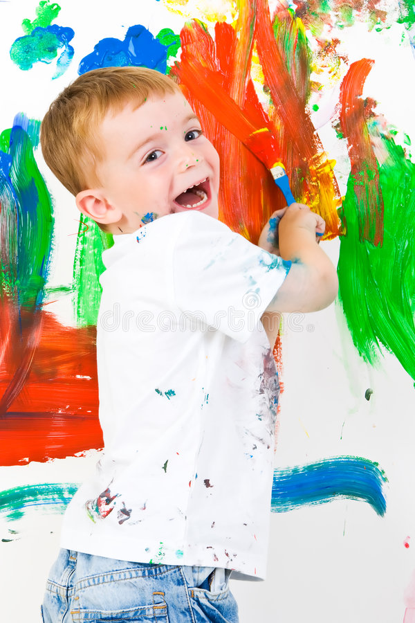 有儿童的乐趣绘画 免版税库存照片