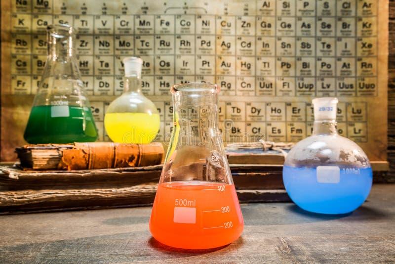 有元素周期表的葡萄酒化工实验室 库存照片