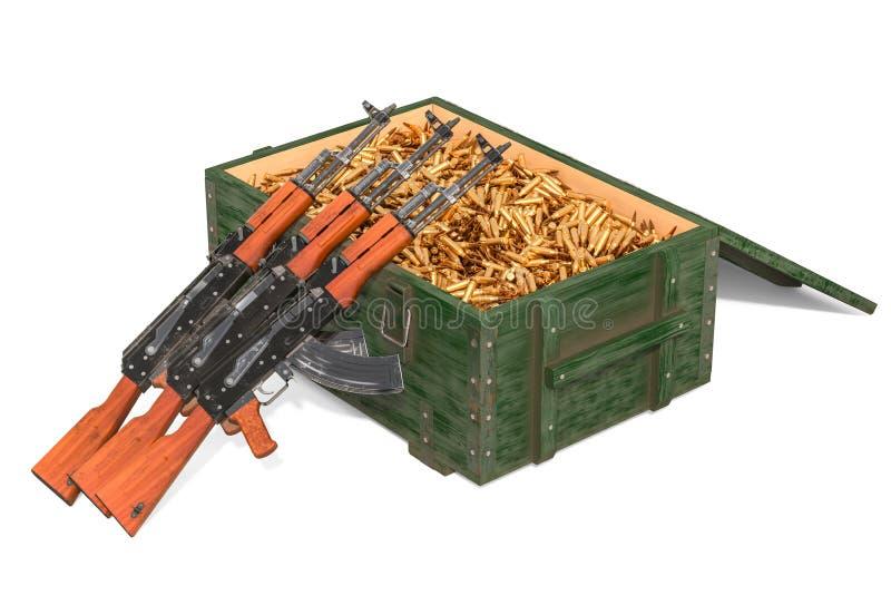 有充分军用木弹药箱子的攻击步枪步枪子弹,3D翻译 库存例证