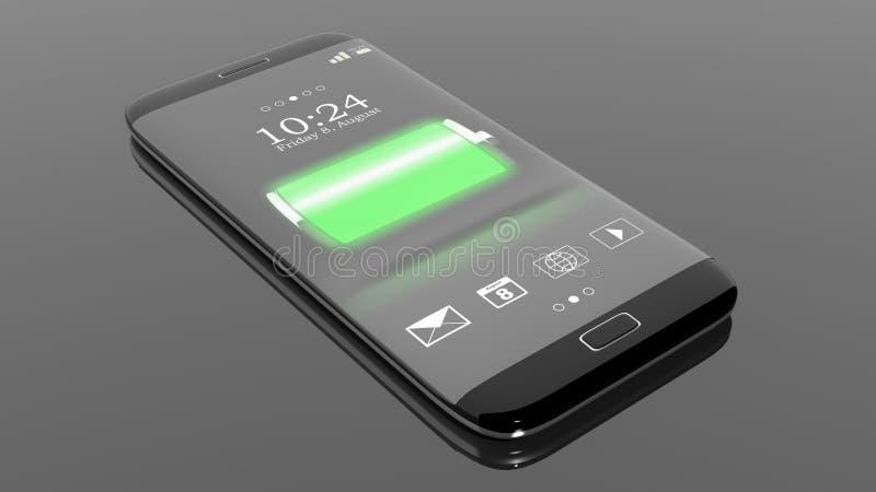 有充分的电池显示的智能手机在屏幕上 皇族释放例证