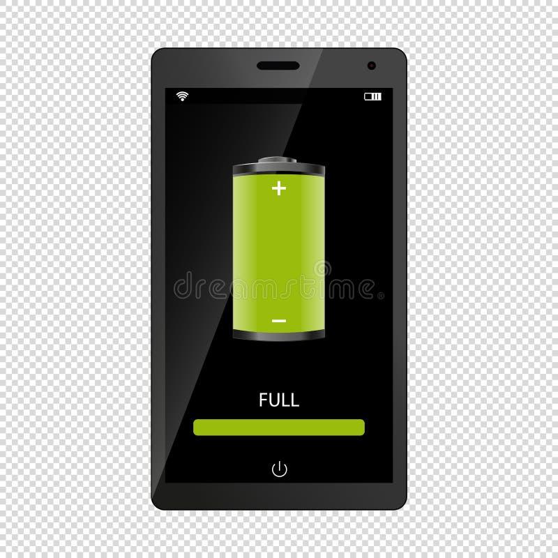有充分的电池标志的手机在透明背景-传染媒介例证上-隔绝的屏幕 库存例证