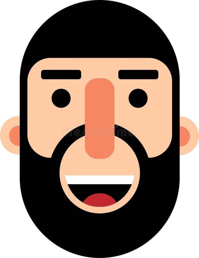 有充分的胡子smilling的面孔平的deaign的中年人 库存例证
