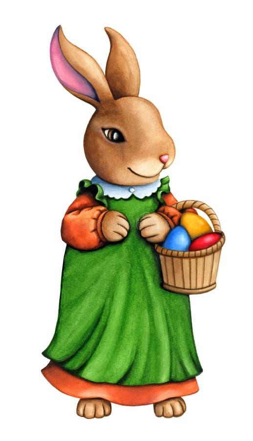 有充分篮子的水彩逗人喜爱的复活节兔子女孩穿一件绿色礼服的鸡蛋 向量例证
