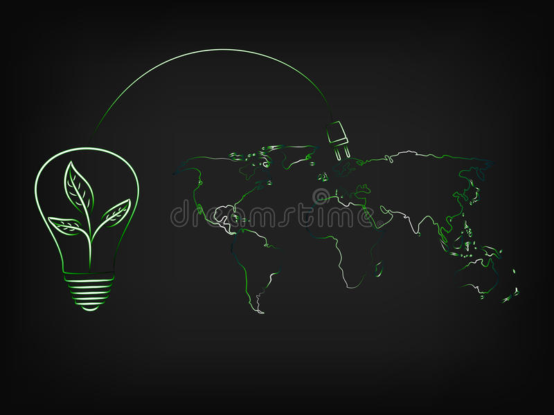有充电可再造能源的世界叶子的电灯泡 皇族释放例证