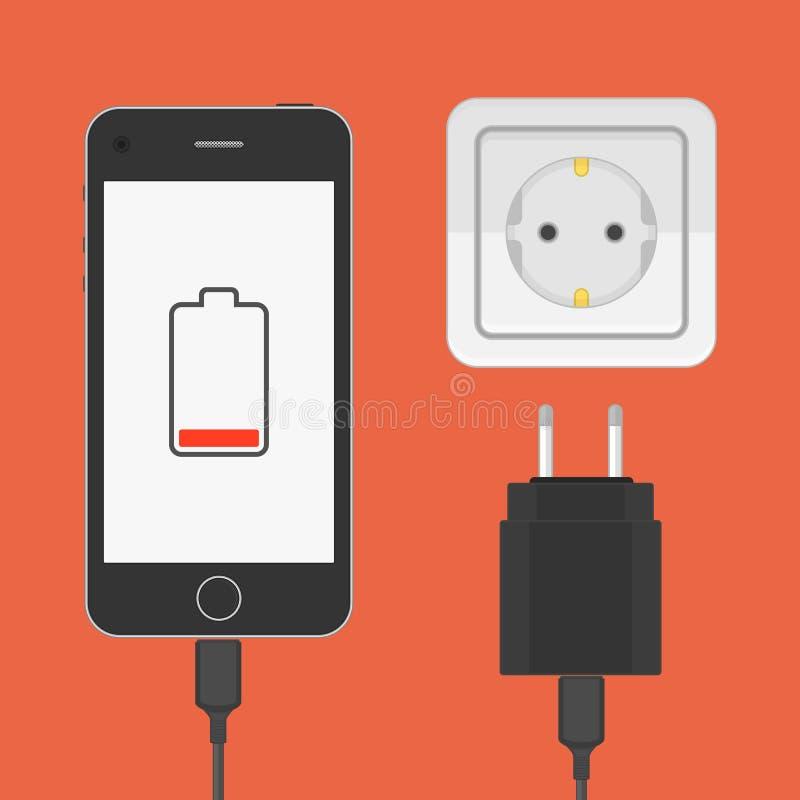 有充电器适配器的电话 向量例证