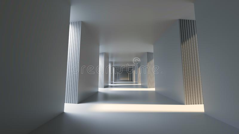 有光明面阳光的,3D长的明亮的走廊翻译 库存例证