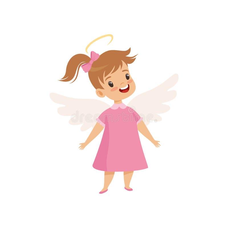 有光晕的一点飞过的女孩在她的穿桃红色礼服的头,有有礼貌的逗人喜爱的孩子导航例证 向量例证