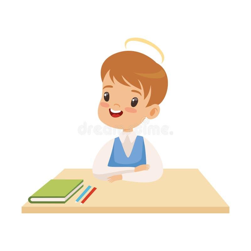 有光晕的小男孩在他的坐在书桌的头,有有礼貌的逗人喜爱的孩子导航例证 皇族释放例证