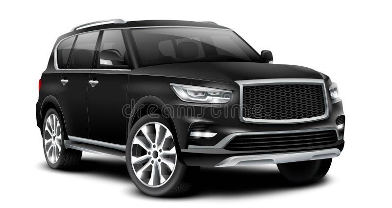 有光滑的表面的黑普通SUV汽车在与被隔绝的道路的白色背景 库存例证