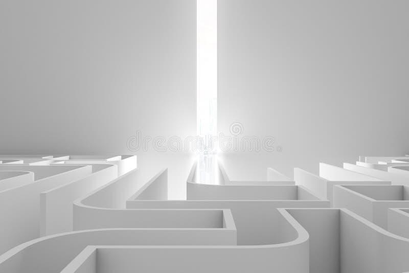 有光的白色迷宫,正面图 皇族释放例证