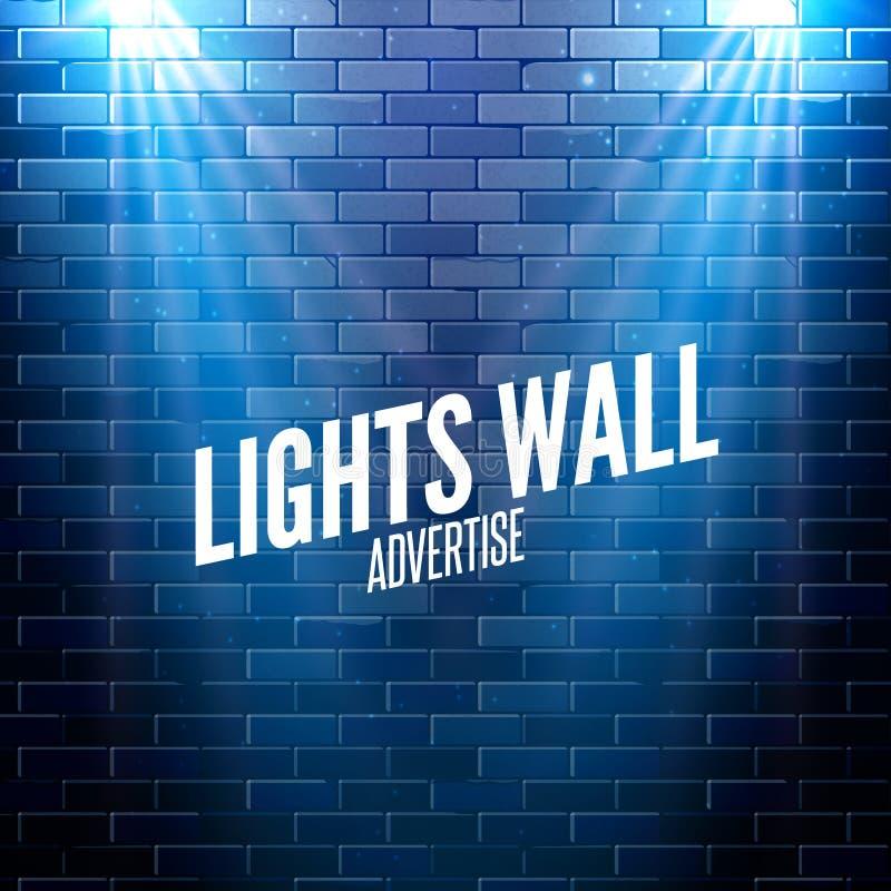 有光的砖墙 五颜六色轻发光在墙壁 传染媒介海报设计 向量例证