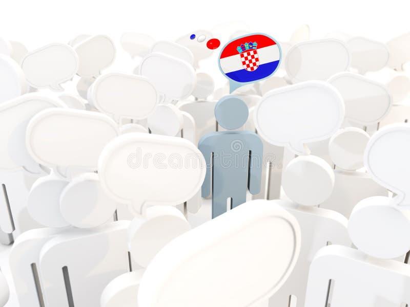 有克罗地亚的旗子的人人群的 皇族释放例证