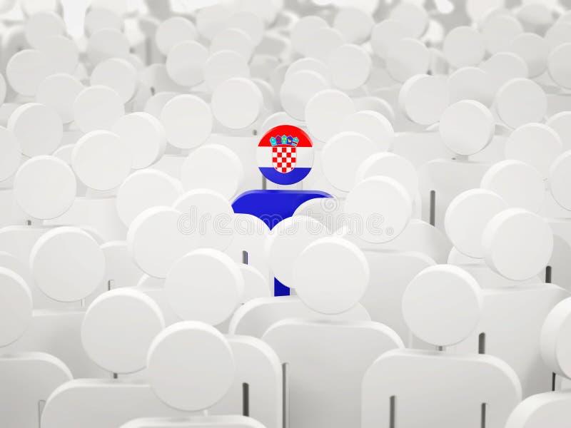 有克罗地亚的旗子的人人群的 库存例证