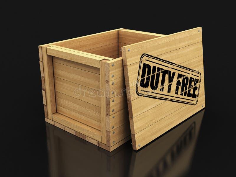有免税的邮票的木板箱 E 皇族释放例证