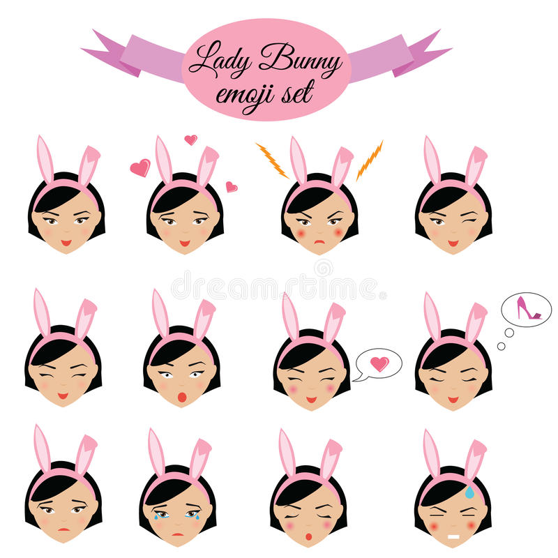 有兔宝宝耳朵emoji集合的逗人喜爱的性感的女孩 夫人意思号,设计元素 皇族释放例证