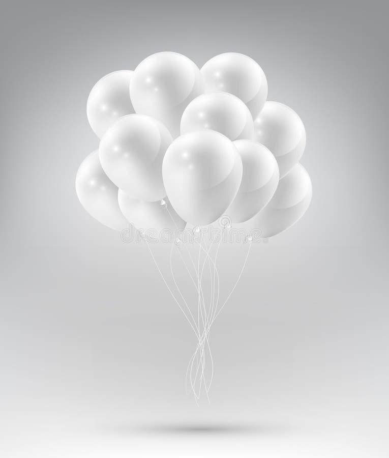 有党和庆祝概念的飞行的现实光滑的白色气球在白色背景,传染媒介例证 皇族释放例证