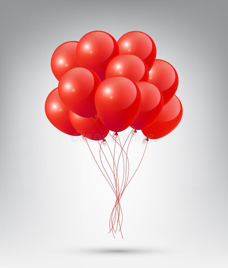 有党和庆祝概念的飞行的现实光滑的红色气球在白色背景 皇族释放例证