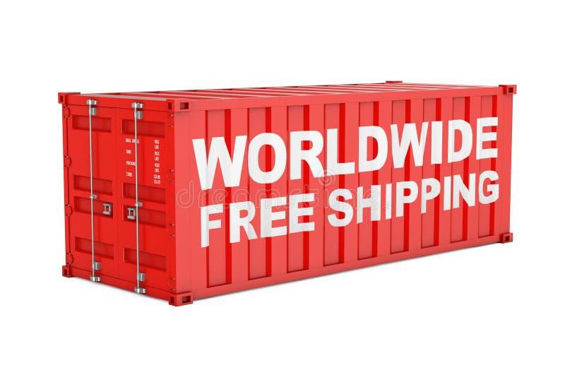 有全世界自由运输的标志的红色运输的货箱 皇族释放例证