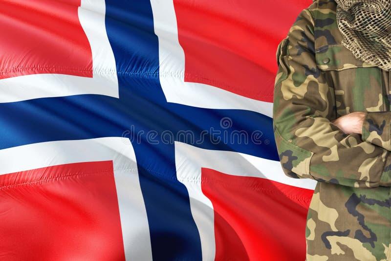 有全国挥动的旗子的横渡的胳膊战士在背景-布维岛军事题材 免版税库存图片