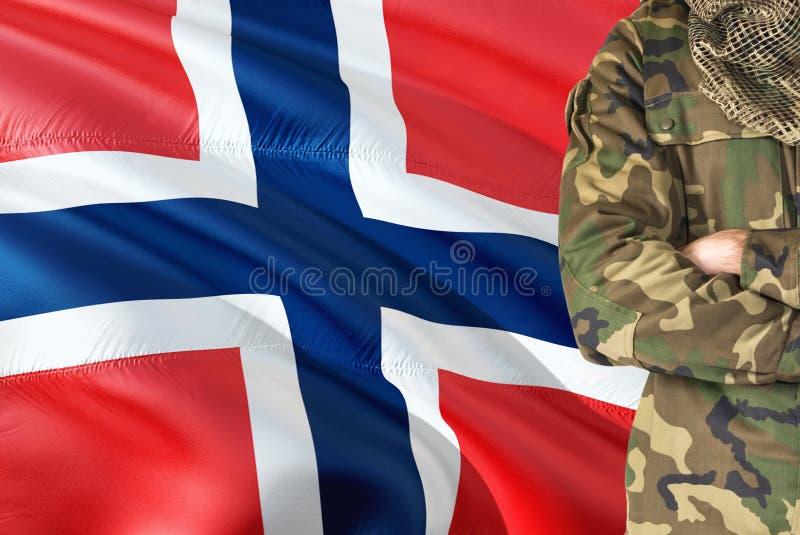 有全国挥动的旗子的横渡的胳膊挪威士兵在背景-挪威军事题材 库存照片