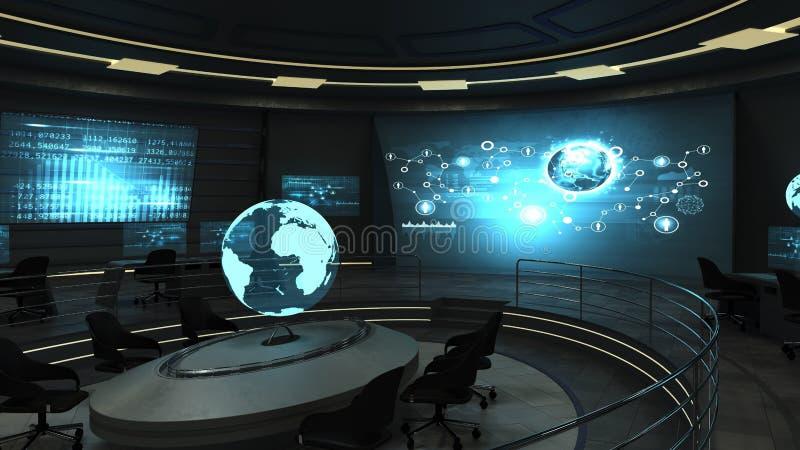 有全息照相的屏幕的未来派办公室 免版税库存照片