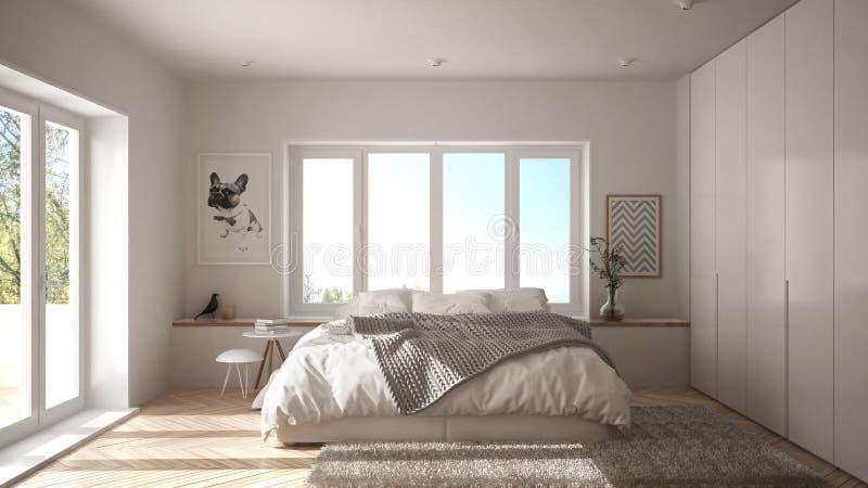 有全景窗口、毛皮地毯和人字形木条地板的,现代建筑学内部desi斯堪的纳维亚白色最低纲领派卧室 库存图片