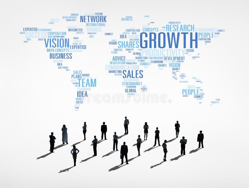 有全球企业概念的商人 向量例证