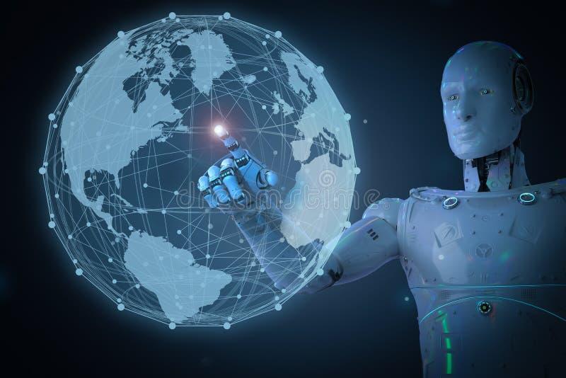 有全球性连接的机器人 库存例证