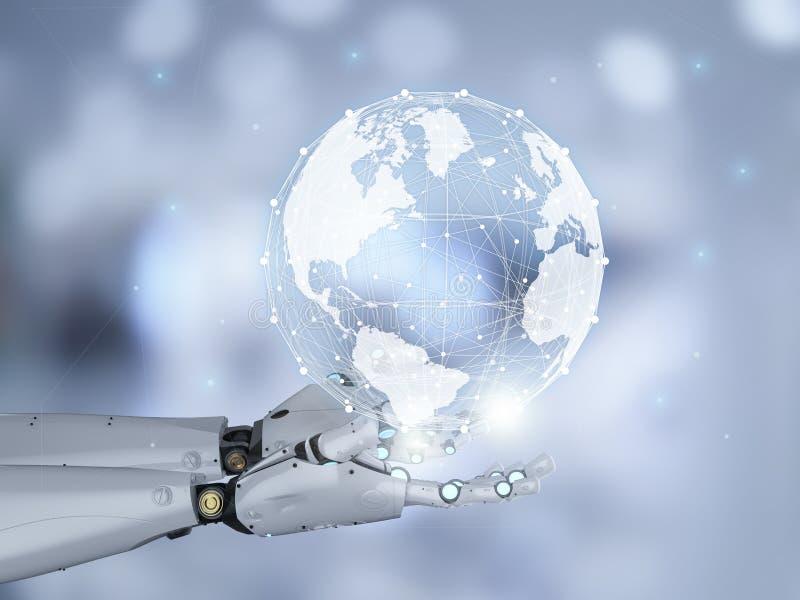 有全球性连接的机器人 图库摄影